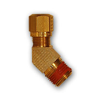 Photo of a DOT Brass Male Elbow 45 Degree - SAE-100302 - Factory Applied Thread Sealant for J844 Nylon Air Brake Tube - MADE IN USA